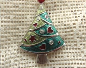 Christmas Tree Pin  Enamel Jewelry  Enamel Brooch  Rhinestone brooch