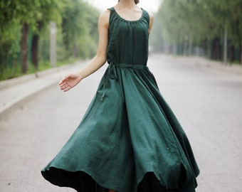 Maxi dress, summer dress, emerald green dress, long sleeveless dress,  fit and flare dress with elatic waist, linen dress, plus size (C152)