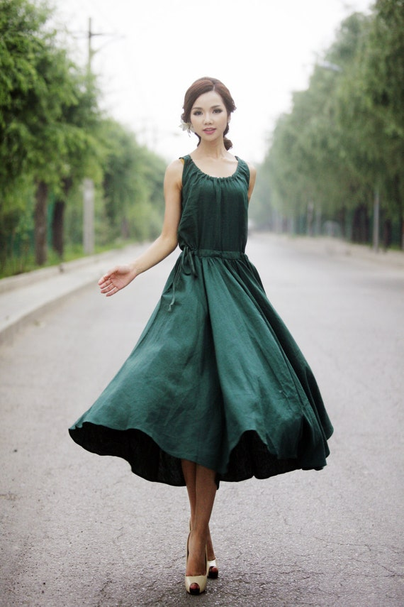 Maxi Summer Dress Emerald Green Long Sleeveless Fit Amp Flare