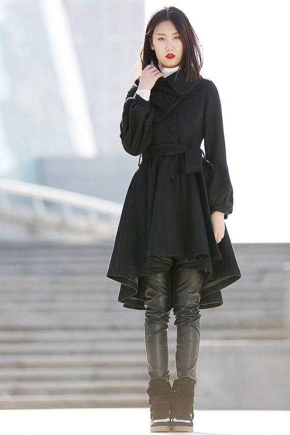 Pea coat wool coat winter coat asymmetrical coat black