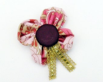 Pink flower brooch, handmade, pink paisley, with purple button centre and gold ribbon detail