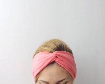 coral twist headband turban retro  head wrap head band hair wrap stretch cotton jersey headwrap head covering summer beach resort pink