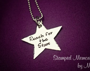 Reach for the Stars - Hand Stamped Stainless Steel Star Necklace - Can be Personalized - Grad Gift Graduation - Inspirational Jewelry