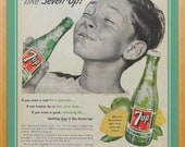 Vintage 7Up ad - Seven Up soda collectible, 7 Up soft drink wall print, green kitchen decor, wall art to frame