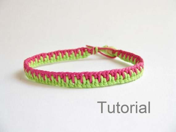 Knotted bracelet photo tutorial pattern pdf pink green jewelry step by