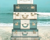 Suitcases - Photo - Summer Ocean Shore Travel Adventure Blue Teal Cyan Sand Sea Surf Coastal Coast Sunshine Sand