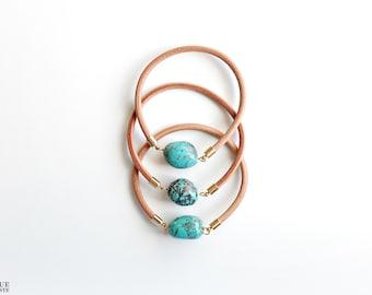 Leather bangle - Turquoise stone bracelet