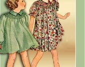 1930s Dress Pattern Pictorial Review 8095 Size 4 Girls Smocked Yoke Unused in Factory Folds