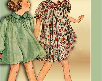 Pictorial Review 8095 1930s Dress Pattern Size 4 Girls Smocked Yoke Unused in Factory Folds