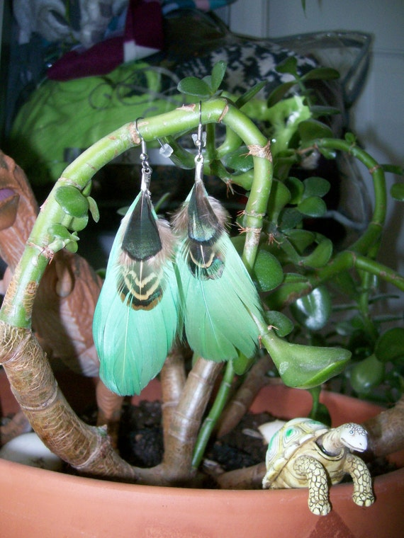 Spring Green Feather Earrings