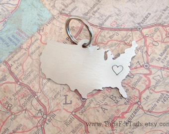 United States Keychain Personalized -  Handmade Custom Charm America Nickle Copper Brass USA Long Distance Love Moving Gift