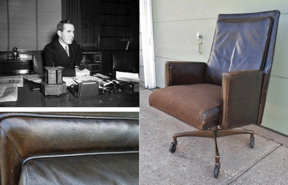 Industrial Leather fice Desk Chair Vintage Mad Men