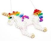 Sparkly Rainbow Unicorn Necklace - Multicoloured ROYGBIV Custom Crystal Unicorn Jewellery - Colourful Bling Unicorn Necklace