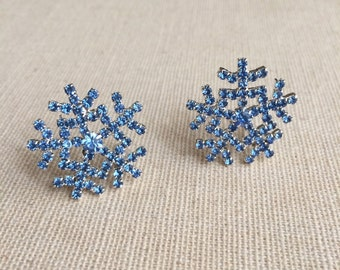 Snowflake earrings, snowflake wedding,  blue sapphire snowflake jewelry christmas, Winter Wedding, winter rhinestone bridesmaid gift