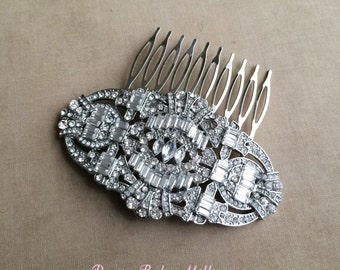Art Deco Comb, Great Gatsby headpiece, LARGE,  Art Deco bridal headpiece,Bridal wedding hair comb hair accessories Downton Abbey silver