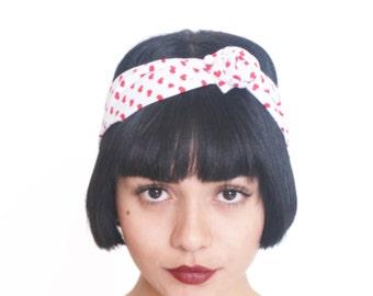 Turban Headwrap Heart Print Bandana Cotton Hair Scarf Knot Yoga Twist Headband Red and White Hairband Boho Beach Head Wrap