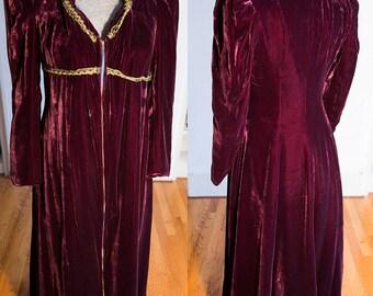 Full Length Burgundy 1940's Gothic Renaissance Costume Dress Velvet