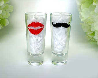 2 Mustache and Lips Shot Glasses - Mustache Shot Glass - Birthday Gift - Choose Your Style and Color