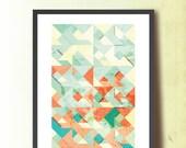 Spring Tangram Geometric Print, Abstract A3 Poster Print. Geometric Wall Art. Home & Office Decor. TangramArtworks Geometric print.