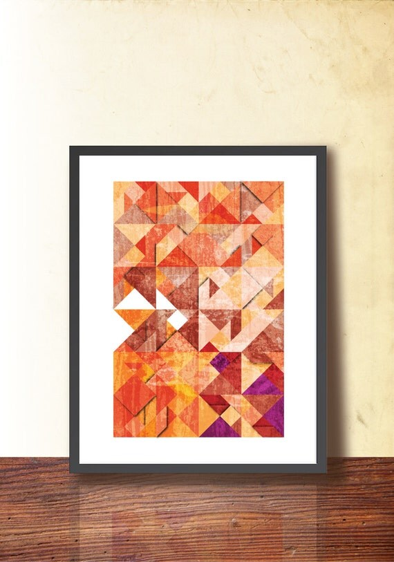 Geometric Art Poster, Tangram Abstract A3 Print, Home & Office Decor. Wall Art geometric print Illustration. Warm autumn colors