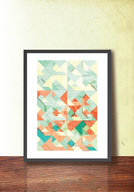 Spring Tangram Geometric Print, Abstract A3 Poster Print. Geometric Wall Art. Home & Office Decor. TangramArtworks Geometric print.