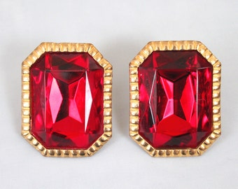 1980s Gothic Blood Red Rhinestone Oversized Clip Earrings