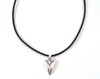 Sterling Silver Arrowhead Pendant on a 2mm Black Leather Cord Necklace-1090