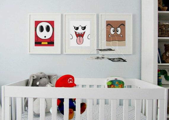 3 Super Mario Brothers Monsters modern print poster children nursery art