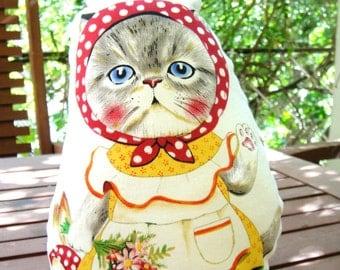 cat doll, art doll, cat pillow, cat decor, cat toy, kitten doll, fabric cat doll, plush cat, animals dolls, plush toy, plushie cat, kawaii