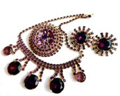 RESERVED Weiss Juliana Runway Set Necklace Brooch Earrings Purple High Fashion Rhinestone Unsigned Beauty Collectable Jewelry Vintage Runway