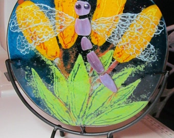 Fused glass, Fused Glass Art, Dragonfly, (stand included) fused glass plate, Glass Art, Art Plate, fused, glass round, decorative plate