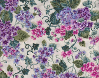 Pretty Floral Fabric  Pink and Violet Purple Violets or Amethyst Green Vines White Cream Spring Background FQ
