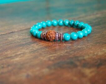 Turquoise 21 Bead Japa Mala Bracelet Genuine Turquoise Rudraksha Copper Meditation Jewelry For Men and Women Yoga Bracelet Wrist Mala