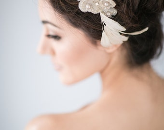 Bridal Hair Comb with Silk Organza Flowers and Vintage Pearl Beads