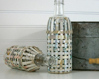 Recycled Glass Bottle with Handwoven Paper Cover, Recycled and Reused Paper, Unique Vase