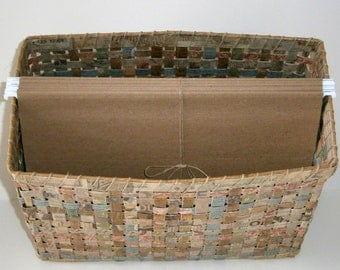 Upcycled Woven Filing Basket, Natural Neutral Hues, Holds Letter Size Hanging Files