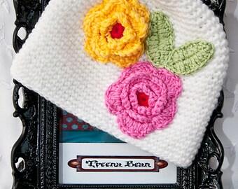 Baby Girl White Crochet Hat, Baby Hat, Newborn Hat, Baby Beanie, Baby Crochet Hat, Shabby Chic