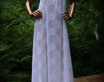 Bridal Wedding Lingerie in White Stretch Lace and Lace Trim with Paneled Gown