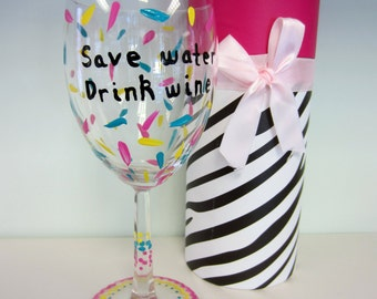 hand painted wine glass with decorative box save water drink wine