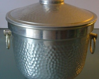 Vintage Made in Italy Hammered Aluminum Ice Bucket