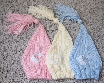 Triplets Newborn Boy Girl Knitted Elf Night Cap Hats with Moon embelishment for Photography Props