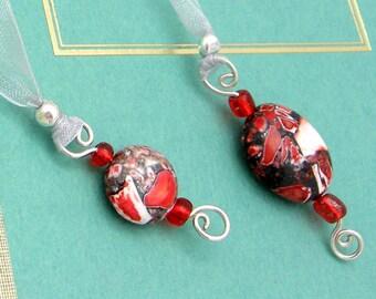 Ribbon Bookmark, Jeweled, Red Mosaic Stone, Semi Precious Stones, Organza Ribbon, Silver Wire Wrapped, Pendants, Handmade, Book Lovers Gift
