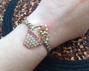 CAVIAR DREAMS Gold Filled Flower Basket Rhinestone Steampunk Upcycled Vintage Assemblage Bracelet Etsy andersonhs