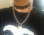 Silver Spiked Leather Choker