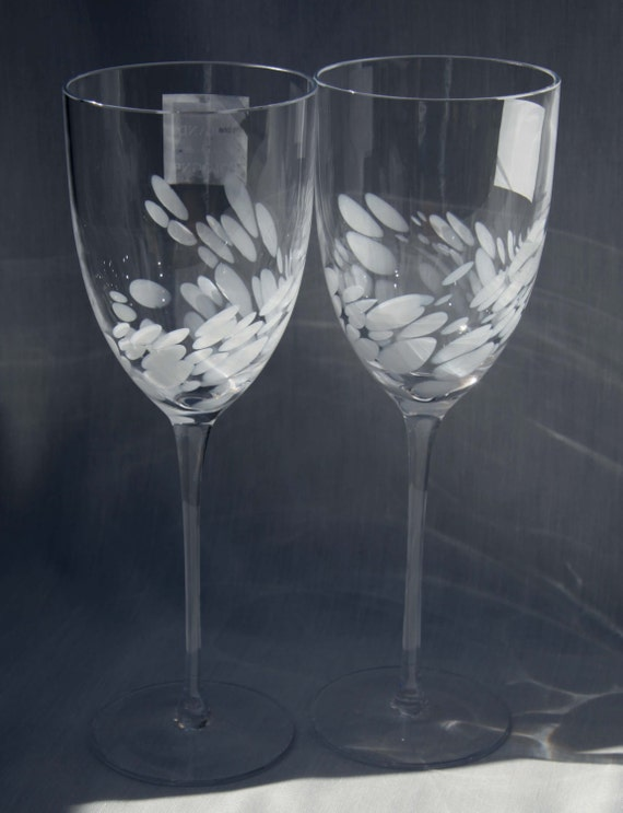Hand Blown Crystal Wine Toasting Flutes White By Cherryrevolver