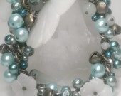 Simply Jaded Jade Beads Flowers & Teal Glass Pearls Charm Bracelet Antique Brass Gypsy Bells 00582
