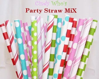 Grinch WHOville Christmas- 75 Paper Straws a Kitish Mix of Circles/ Stripes / Dots / also used as Cake Pop Sticks and HomemadePixie Candy