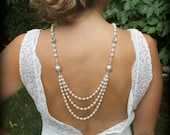 Backdrop Necklace-Pearl Necklace-Back Drop Necklace-Bridal Back Necklace-Wedding Necklace-Backwards Necklace-Dream Day Designs