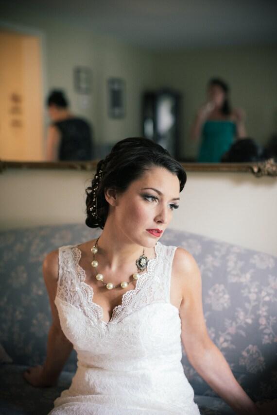 Bridal Necklace-Pearl Necklace-Cameo-Wedding Necklace-Wedding Jewelry-Ivory Pearl Necklace