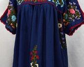 "Mexican Blouse XL: ""Lijera Libre"" by Siren in Denim Blue"